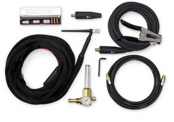 MILLER ELECTRIC W-250 TORCH KIT AND ACCESSORIES PKG. - INCLUDES  W-250 TIG TORCH, GROUND LEAD, AND FLOWMETER