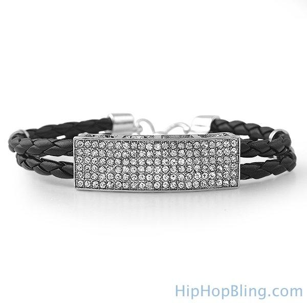 Dual Strand Woven Leather ID Bling Bracelet