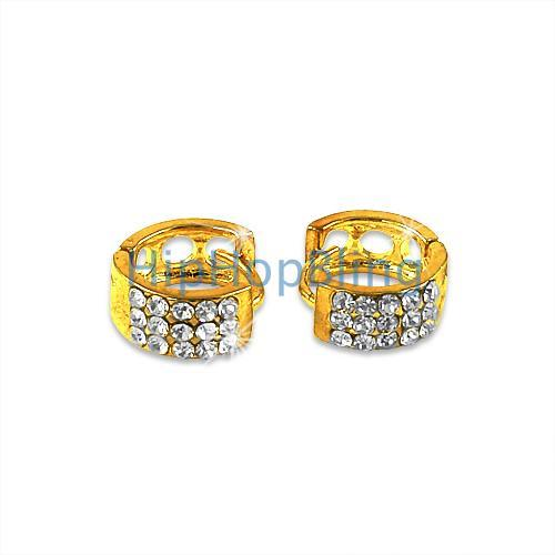 Small 3 Row Gold Huggie Bling Bling Earrings