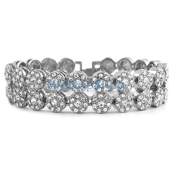 2 Row Cluster Bling Rhodium Bling Bracelet