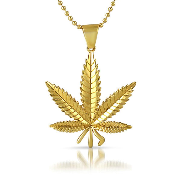 Gold Marijuana Pot Leaf Detailed Pendant
