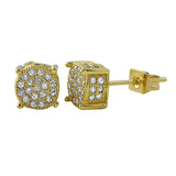 360 Round Gold CZ Micro Pave Bling Earrings