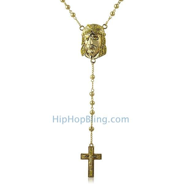 Lemonade Jesus Piece Rosary Bling Bling Necklace