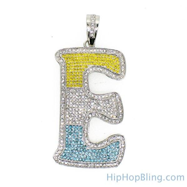 E Color Graffiti Initial Iced Out Pendant