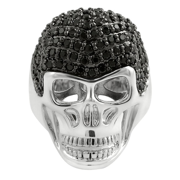 Skull Black Hair CZ Custom Mens Bling Bling Ring