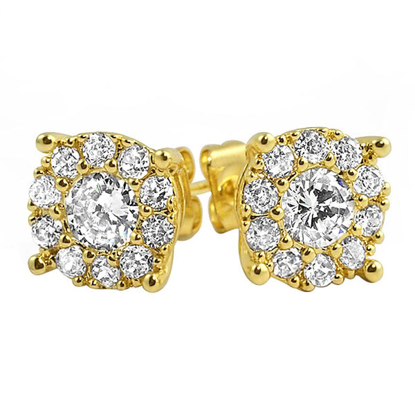 Solitaire Cluster Gold CZ Bling Bling Earrings
