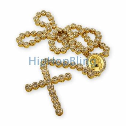 Gold Cluster Bling Bling Rosary Necklace