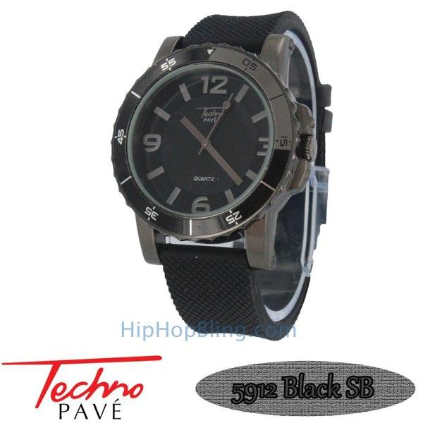 Techno Pave Sport All Black Rubber Watch