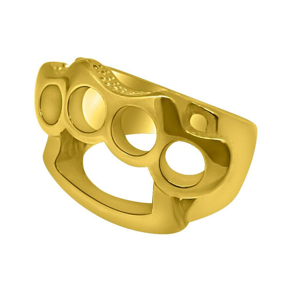 Brass Knuckles Design Gold Ring Stainless Steel
