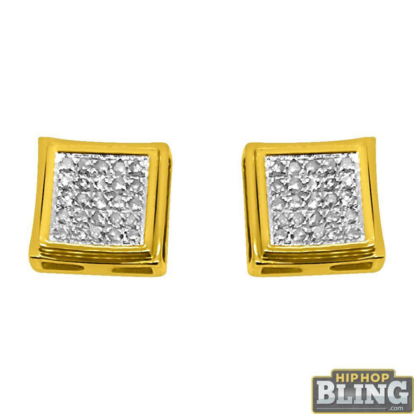 10K Yellow Gold Polished Box .15 Carat Diamond Earrings