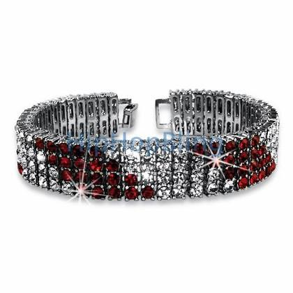 Candy Cane Red & White 4 Row Bling Bracelet