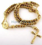All Gold Raw Ice Bling Bling Rosary Necklace