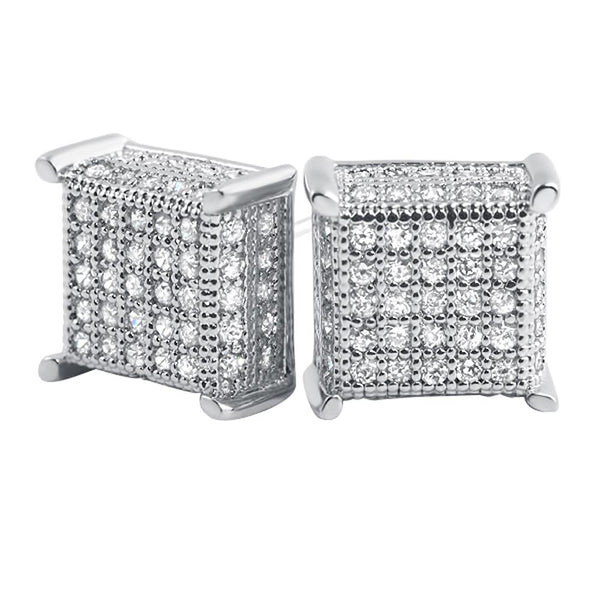 3D Box Micropave CZ Bling Bling Earrings
