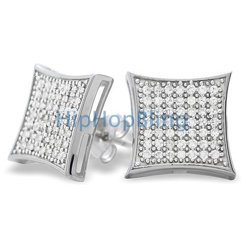 XL Kite CZ Micro Pave Iced Out Earrings .925 Silver