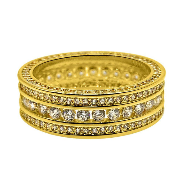Channel Set 360 Eternity Band Gold CZ Bling Bling Ring
