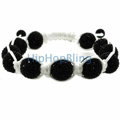 12mm Black High End Bling Disco Ball Bracelet White Rope