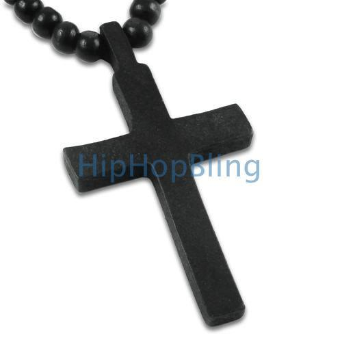 Black Wood Cross Carved Rosary Necklace