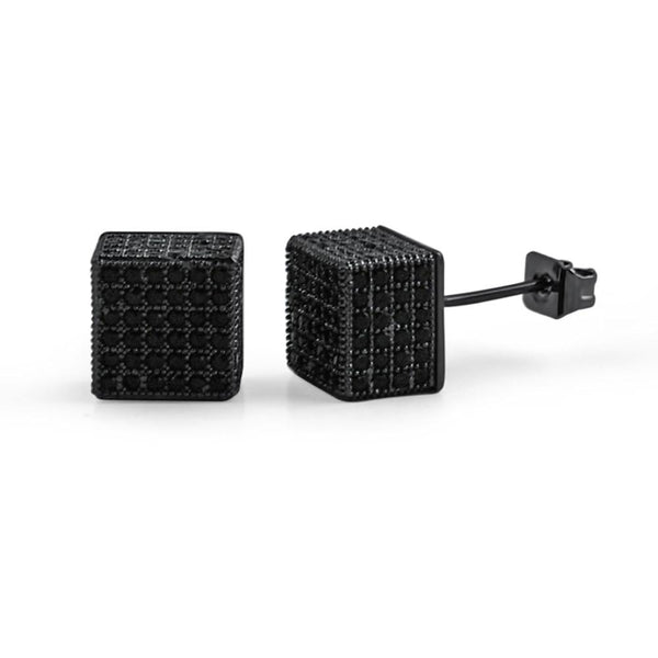 Cube Black CZ Hip Hop Bling Bling Earrings