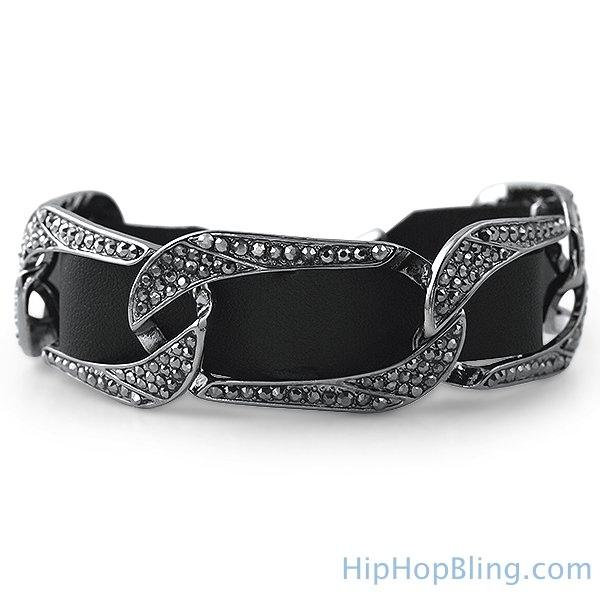 Black Leather Cuban Bling Bling Bracelet