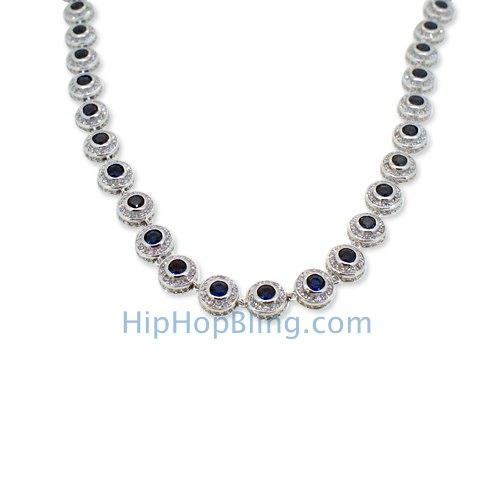 360 Cluster CZ Bling Bling Chain White with Blue Center