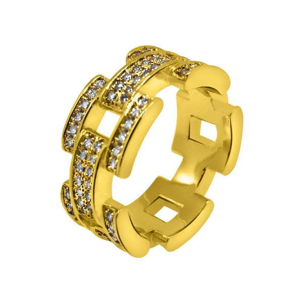 .925 Silver Prez Link Eternity Band Gold CZ Bling Ring