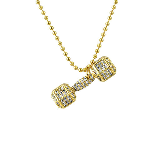 Dumbbell Weight Crossfit Gold Bling Pendant