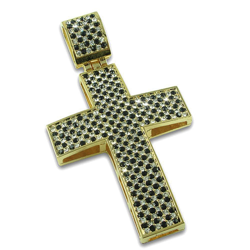 White & Black Checkered Bling Bling Gold Pendant