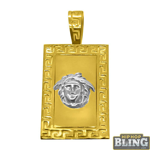 10K Gold Medusa Block Pendant with Greek Border