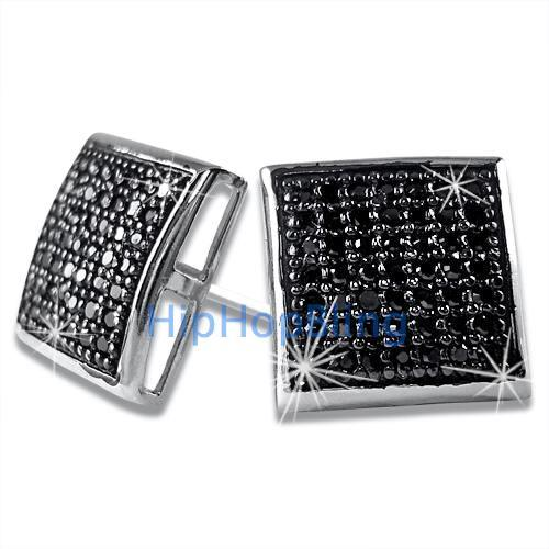 XL Black CZ Puffed Box Micro Pave Earrings .925 Silver