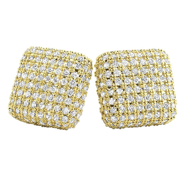 XL Rounded 3D Box Gold Micro Pave Bling Earrings