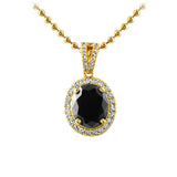 Oval Cut Gem Lab Made Black Diamond Pendant