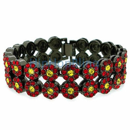 2 Row Cluster Bracelet Red & Yellow Bling Bling