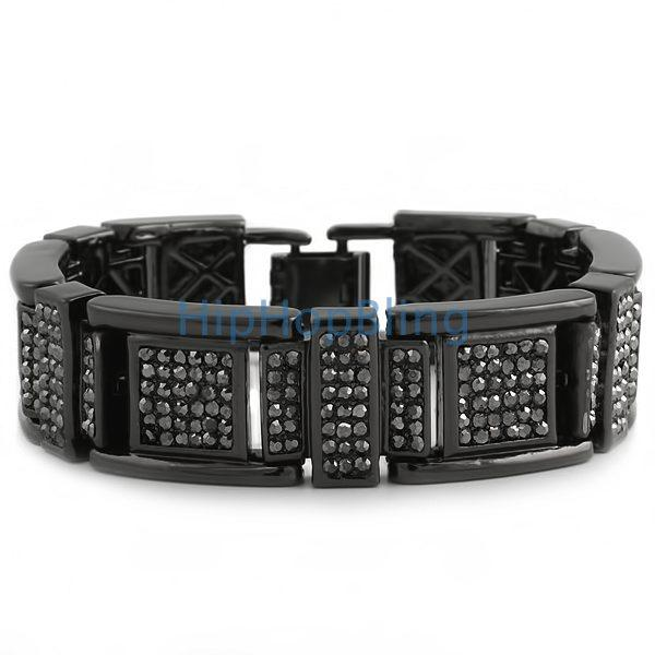 Big Block Bling Black Hip Hop Bracelet