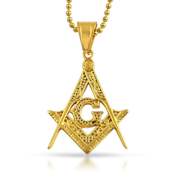 Medium Fancy Masonic Free Mason Pendant Gold Steel