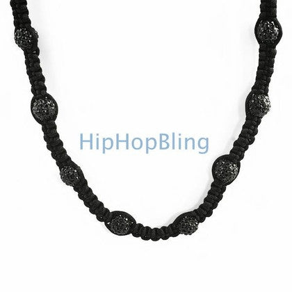 23 Disco Ball Black Bling Bling Necklace