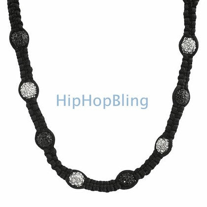 23 Disco Ball Black & White Bling Necklace