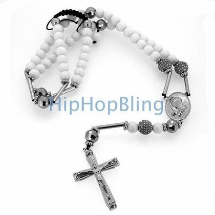 White Stone Hip Hop Rosary Necklace