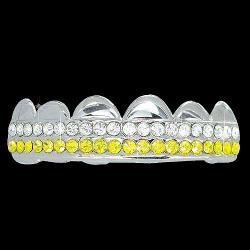 YELLOW / CLEAR Double Bar SILVER Iced Out Grillz Hip Hop Bling Grills TOP