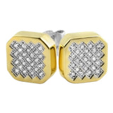 Zig Zag Iced Out CZ Gold Hip Hop Earrings