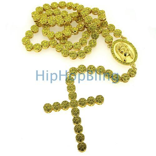 Lemonade Cluster Bling Bling Rosary Necklace