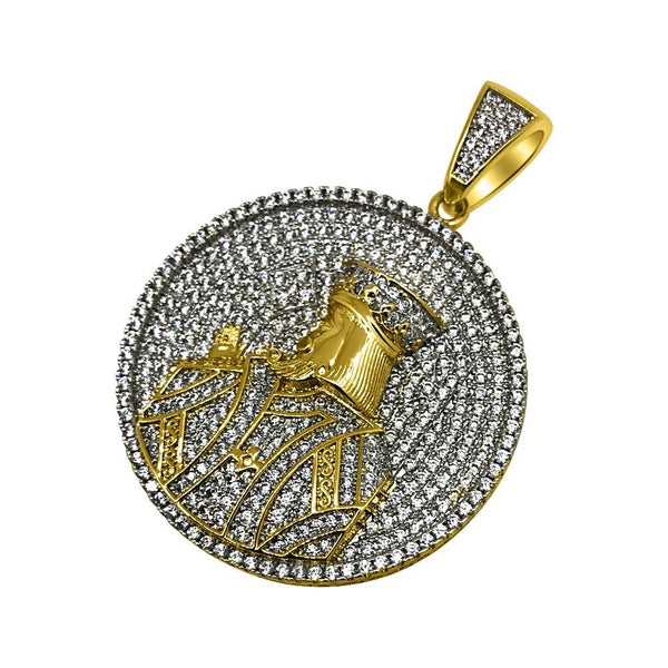 .925 Silver Gold King Profile Circle CZ Bling Bling Pendant