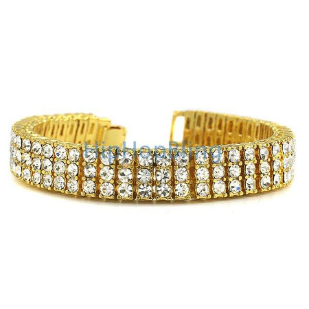15MM 1 Row Tennis Bracelet Gold Steel Bling