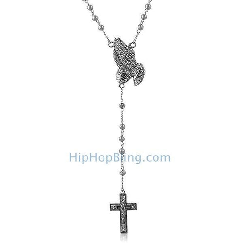 Bling Praying Hands Hip Hop Rosary Necklace