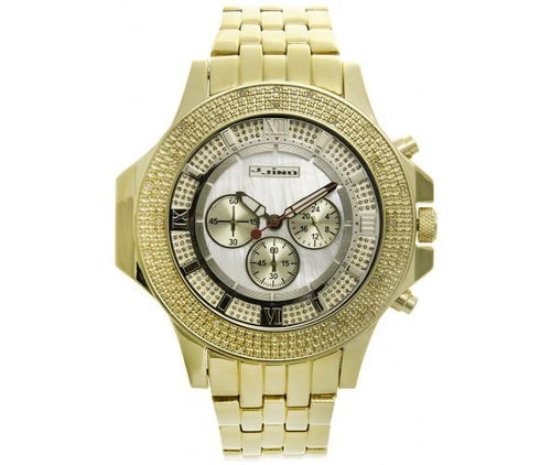 Gold Sports .25 Carat Diamond Bling Watch White Pearl Dial