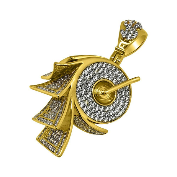 .925 Silver Money on a Roll Gold CZ Bling Bling Pendant