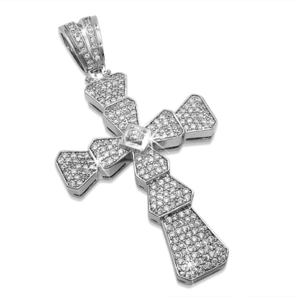 Ribbed Cross with Centerstone CZ Micro Pave Pendant