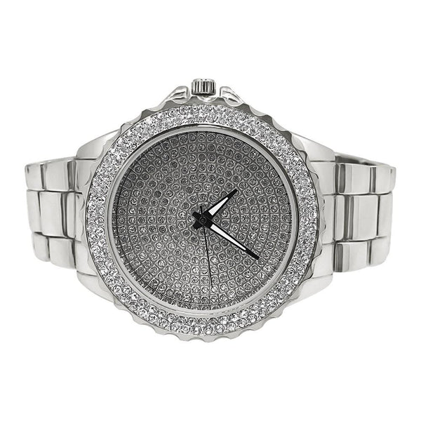 Big Boss Bling Bling Dial Heavy Silver Hip Hop Watch