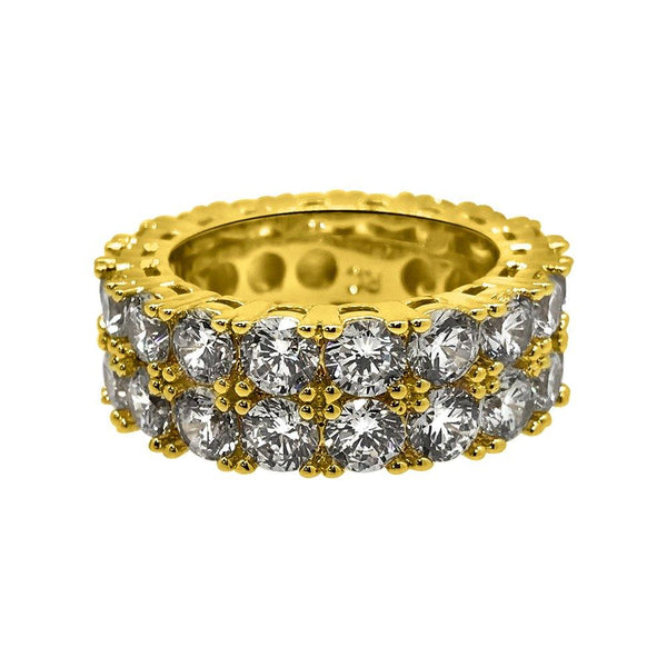 Double Eternity Band 360 Gold CZ Bling Bling Ring
