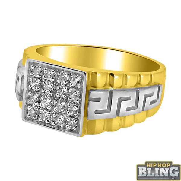 10K Gold Cube CZ 2 Tone Greek Pattern Mens Ring