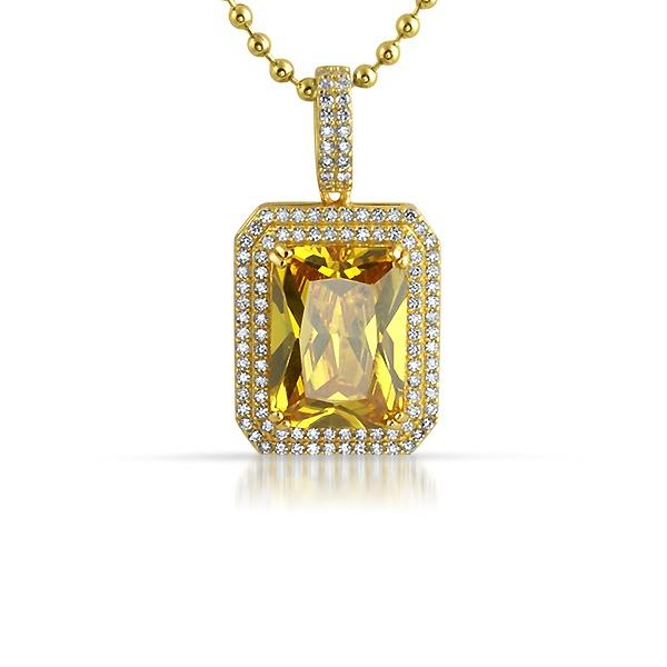 .925 Silver Double Bling Canary Gem Pendant